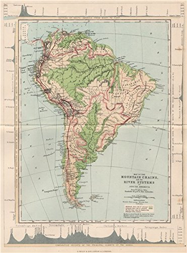 Amazon.com: SOUTH AMERICA. Map Mountain Chains & river ...