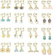 Hanpabum 16 Pairs Cute Clip on Earrings Set for Girls Colorful Animals Rainbow Star Flower Balloon Cake Lollip