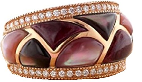 Kabana 14K Rose Gold Mother of Pearl Wide Band Ring with (Kabana Rose Ring)