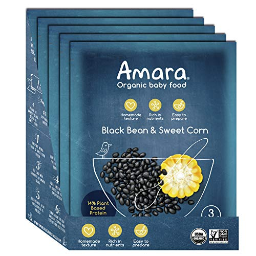 Amara Baby Food, Bean & Sweet Corn, Plant Based Protein, Baby & Infant Food, Organic Fruits and Veggies for Baby and Toddler Meals - Stage 3 (5 pouches)