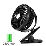 Per USB Rechargeable Mini Fan With Clip 5.91In Desk Fans 360° Rotation Adjustable Wind Speed For Home Office Stroller Portable-With 2600mAh Battery