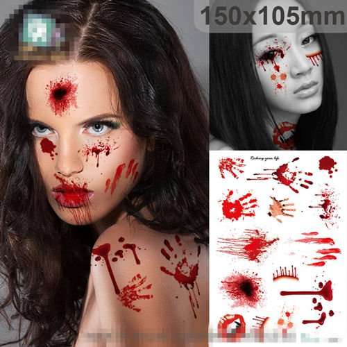 MAZIMARK--Halloween Horrible Decor Wound/Scab Simulation Blood Injury Scar Tattoo Sticker