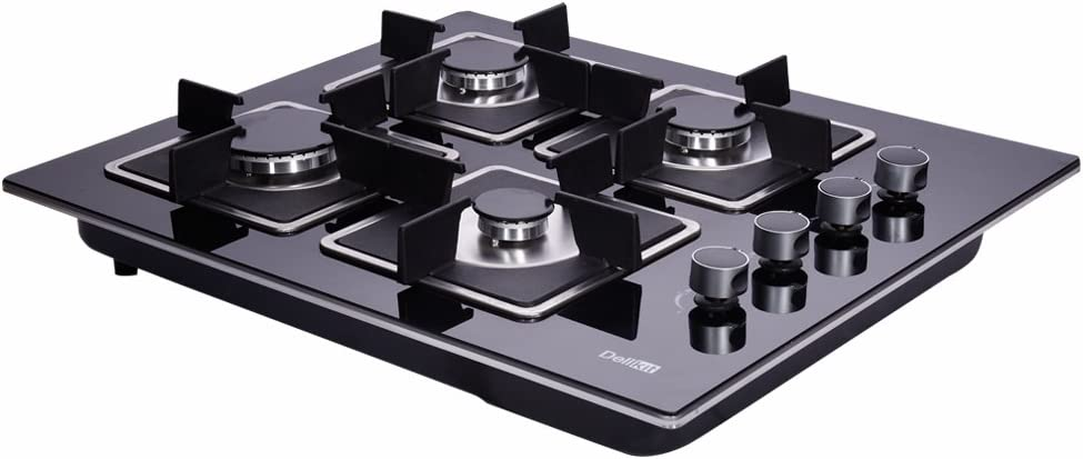 Deli-Kit DK145-A02S 24 inch gas cooktop gas hob stovetop 4 Burners LPG//NG Dual Fuel 4 Sealed Burners Kitchen Tempered Glass Built-in gas Cooktop 110V AC pulse ignition