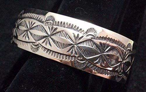 Navajo Silver Bracelet/Cuff Stamped Designs Native American Signed Silver Cuff Bracelet Signed