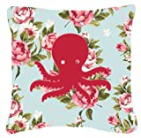 Caroline's Treasures BB1090-RS-BU-PW1414 Octopus Shabby Chic Blue Roses Decorative Pillow, Large, Multicolor