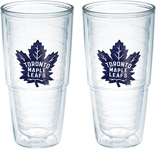 (Tervis NHL Toronto Maple Leafs Emblem 24oz Tumblers 2 Pack with No Lids, Clear)