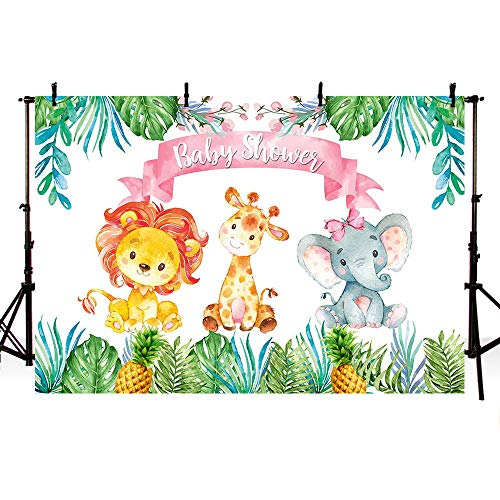 - MEHOFOTO 7x5ft Safari Jungle Girl Baby Shower Party Backdrop Pink Princess Green Leaves Jungle Animals Pineapple Photography Background Photo Banner for Cake Table Supplies