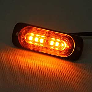 "Amazon.com: Amber 3"" Mini Strobe Flashing 6 Cree Slim LED"
