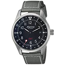 Alpina Men's 'Startimer' Swiss Quartz Stainless Steel and Nylon Casual Watch, Color:Grey (Model: AL-247B4S6)
