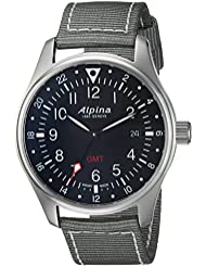 Alpina Mens Startimer Swiss Quartz Stainless Steel and Nylon Casual Watch, Color:Grey (Model: AL-247B4S6)