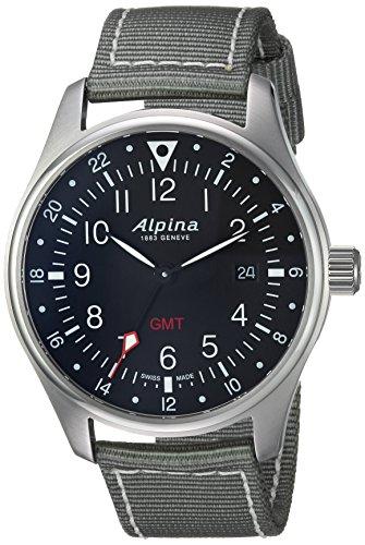 Alpina Men's 'Startimer' Swiss Quartz Stainless Steel and Nylon Casual Watch, Color:Grey (Model: AL-247B4S6)