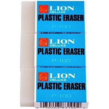 Lion Translucent White Plastic Erasers, 3 EA/Pack, 1 Pack (P-100P)