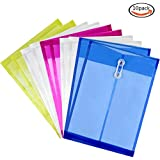 Goodlucky365 Letter Size Poly String Project Envelope with Expandable Gusset, 10 Pcs Mix Colors Set, Water/tear Resistant-translucent