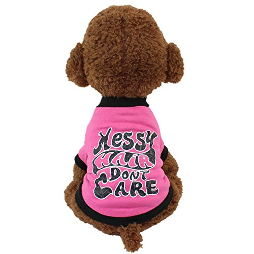 WEUIE Clearance Sale! Puppy Clothes Cute Pet Dog Cat T-shirt Clothing Small Puppy Costume (M, Hot Pink)