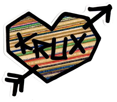 Krux Skate Trucks - Krux Trucks Skateboard Sticker - Love Heart 16cm wide approx. skate board skateboarding sk8
