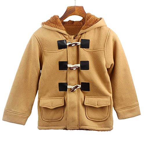 Charberry Children Horn Buckle Zipper Thick Section Plus Velvet Baby Boys Button Coats Jacket Warm Winter Hooded Kid Outwear