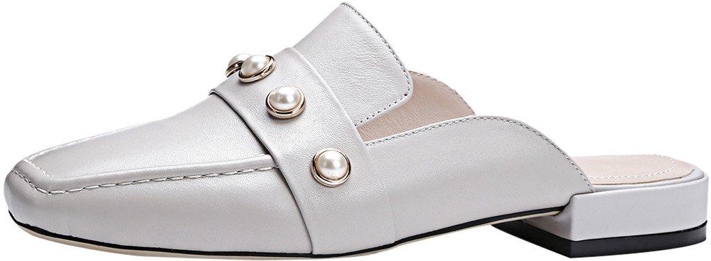 Calaier Womens Catheater Closed-Toe 2CM Block Heel Slip-on Mule Shoes, Grey, 7.5 B(M) US by Calaier