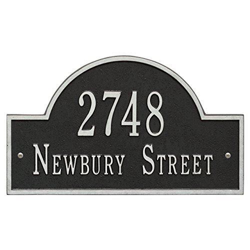 Whitehall Arch Marker Standard Address Plaque Finish … (2-Line, black, silver)