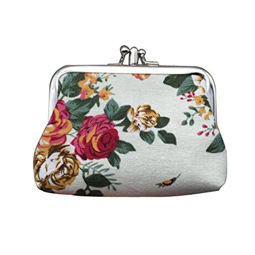 Fashion Canvas Retro White Style Portemonnaie Blumenmuster Münzfach