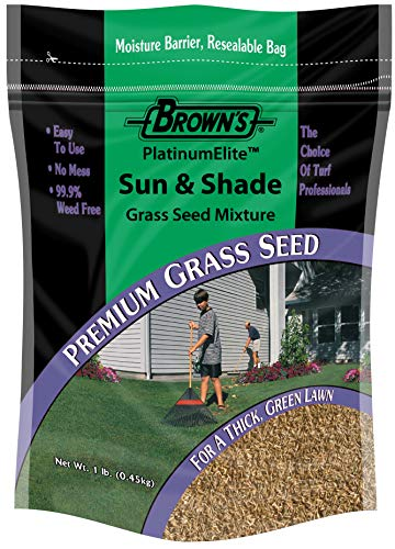 F.M. Brown's PlatinumElite Sun and Shade Grass Seed Mixture, 1 lb. | 99.9% Weed Free, Fast-Growing Perennial Seeds for Beautiful Lawns