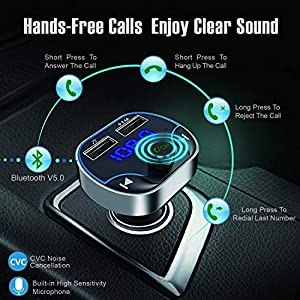 51nPXI5J9rL. SS300  - Clydek-FM-Transmitter-for-Car-Bluetooth-50-Car-Radio-Audio-Adapter-with-Dual-USB-Charging-Port-MP3-Player-Car-Charger-Support-Hands-Free-USB-Stick-SD-Card