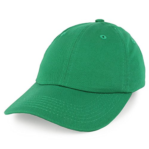 Trendy Apparel Shop Youth Small Fit Bio Washed Unstructured Cotton Baseball Cap - Kelly Green