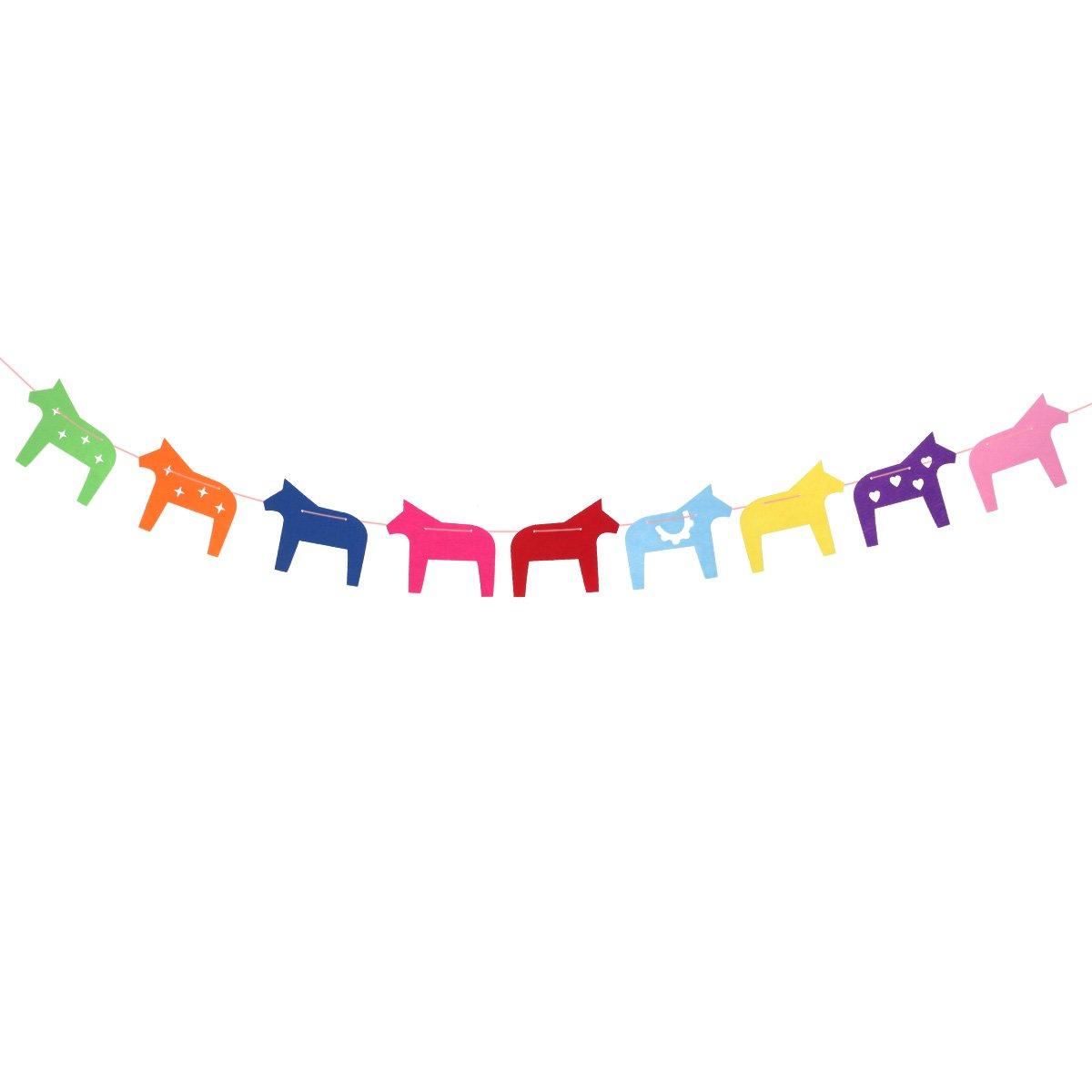BESTOYARD 2.5M カラフル 馬 動物 旗 バンティング バナー レインボー バンティング ガーランド パーティー 誕生日 子供部屋用 (ランダムカラー)   B07GR77DCT