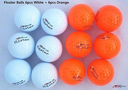 12pcs a99 GolfフロータBalls withロゴ – フローティングボール( 6個ホワイト+ 6pcsオレンジ) B01G8N15ZG