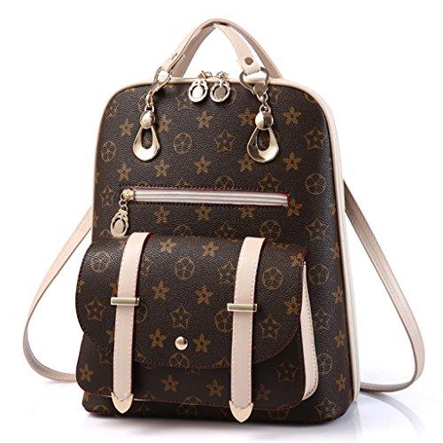 Casual Signature Printing Leather Tote Shoulder Handbag Satchel Backpack for Women (Brown)