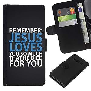 EJOY---La carpeta del tirón la caja de cuero de alta calidad de la PU Caso protector / Samsung Galaxy A3 / --BIBLIA Jesús te ama tanto que murió por usted