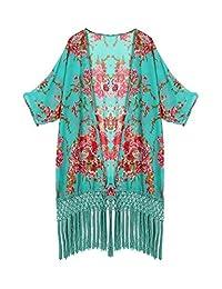 Mixmax Women Flowy Sheer Crop Sleeves Loose Chiffon Kimono Cardigan Blouse Top (M, Green)