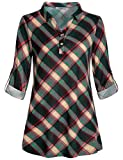 Cestyle Juniors Tops, Ladies Loose Flattering Peasant Blouses Women V Neck Cuffed Long Sleeve Polo Tunic Shirt Swing A Line Turn Dowm Collar Sweatshirt Fit Cute Soft Surrounding Clothing Green L