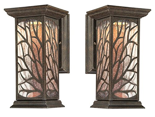 Victorian Supply Outlet - Glenwillow One-Light LED Outdoor Wall Lantern with Clear Seeded Glass, Victorian Bronze Finish (2-Pack)