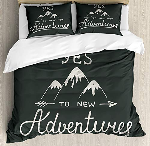 Ambesonne Adventure Duvet Cover Set Queen Size, Say Yes to New Adventures Typographic Words with Scribble Mountains, Decorative 3 Piece Bedding Set with 2 Pillow Shams, Charcoal - Queen Mountain Comforter