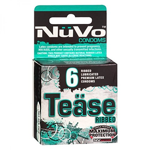 NuVo Tease Ribbed Lubricated Premium Latex Condoms ,4 packs of 6 each total count of 24