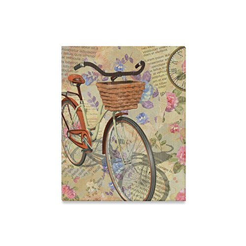 InterestPrint Vintage Newspaper Background with Roses Modern Canvas Prints Painting Wood Framed Wall Art for Home Decoration Wall Decor, Clock and Bicycle 16 x 20 Inches