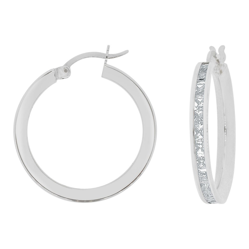14k Gold White Rhodium, Round 3mm Wide Channel Set Created CZ Earring 20mm Inner Snap Down by GiveMeGold