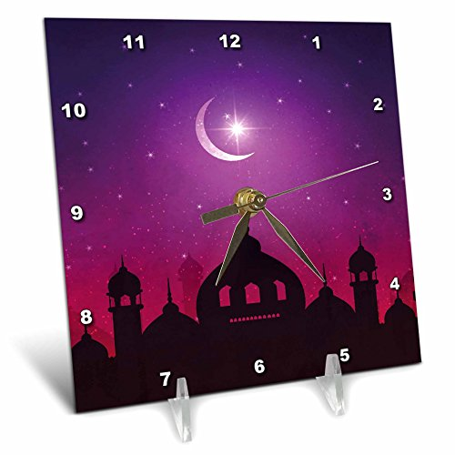 3dRose Sven Herkenrath Religion - Mosque Islam Muslim Islamic with Moon and Purple Background - 6x6 Desk Clock (dc_280333_1) by 3dRose