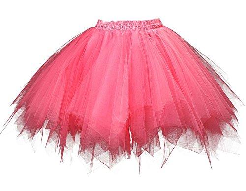 MsJune Women's 1950s Vintage Petticoats Crinolines Bubble Tutu Dance Half Slip Skirt Watermelon-3XL