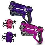 USA Toyz Laser Tag Multiplayer Games - Space Blaster Laser Tag Gun Set, Laser Tag Guns, Lazer Tag for Kids w/ Target Practice Bots (2pk Pink/Purple)