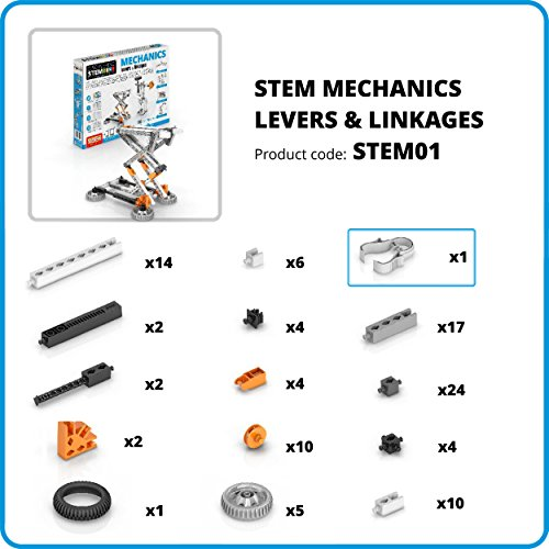 51nPYqi5PtL - Engino Discovering STEM Mechanics Levers & Linkages | 16 Working Models | Illustrated Instruction Manual | Theory & Facts | Experimental Activities | STEM Construction Kit