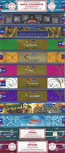 Set of 12 Nag Champa, Super Hit, Golden Era, Prana, Natural Patchouli, Natural Sandal, Natural Jasmine, Natural Lavender, Natural Rose, Aastha, Opium, Natural by Satya by Satya