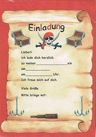 12 Einladungen + Umschläge Pirat Schatzkarte
