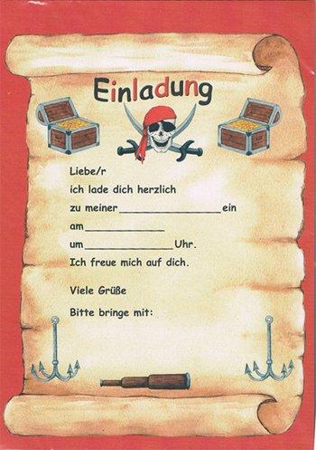 12 Einladungen + Umschläge Pirat Schatzkarte: Amazon.de: Küche U0026 Haushalt