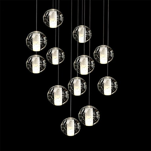 Linght Modern Crystal Chandelier 14 Bubble Lights Led Meteo Shower Magic Crystal Ball L33.5 X W11.2 Inch