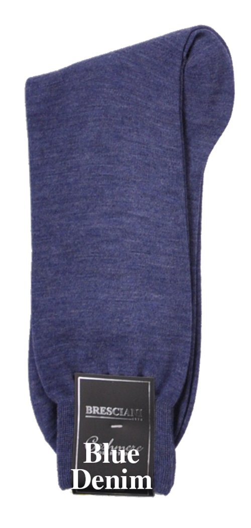 Bresciani Men's 100% Pure Cashmere Crew Dress Socks-1 Pair Denim Blue