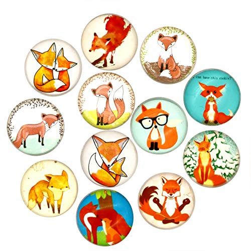 Cosylove 12pcs Fox Refrigerator Magnets, Crystal Glass Fridge Magnets for Office Cabinets, Whiteboards, Photos, Beautiful Decorative Magnets, Decorate Home (Fox)