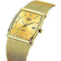 [Patrocinado] Relojes de hombre de negocios moda marca de lujo vestido casual reloj correa de malla impermeable con fecha cuadrado reloj de pulsera
