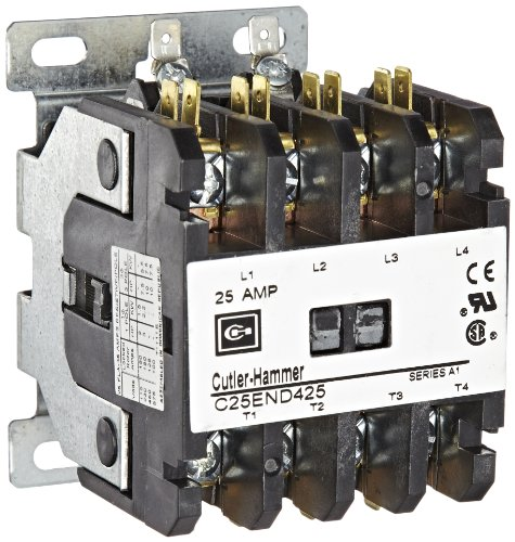 Pole Contactor Coil 480vac Single (Eaton C25END425B Definite Purpose Contactor, 50mm, 4 Poles, Screw/Pressure Plate, Quick Connect Side By Side Terminals, 25A Current Rating, 2 Max HP Single Phase at 115V, 7.5 Max HP Three Phase at 230V, 10 Max HP Three Phase at 480V, 208-240VAC Coil Voltage)