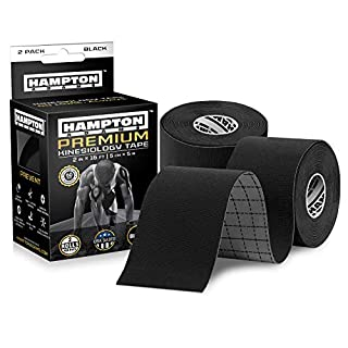 (2 Pack) Kinesiology Tape for Physical Therapy Sports Athletes – Latex Free Elastic, 16ft Water Resistant Kinetic Uncut Kinesio Tape for Knee Pain, Elbow & Shoulder Muscle - Black